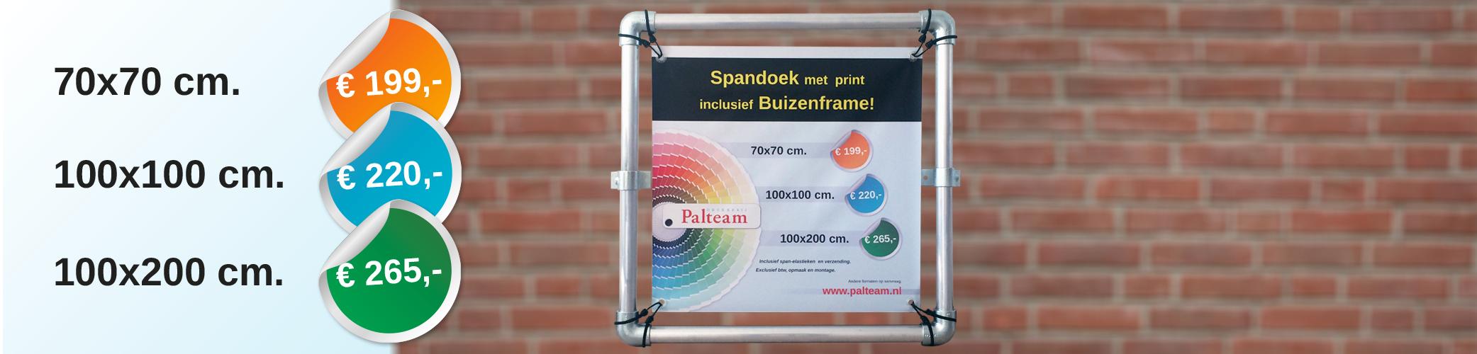 Spandoek met print inclusief buizenframe!